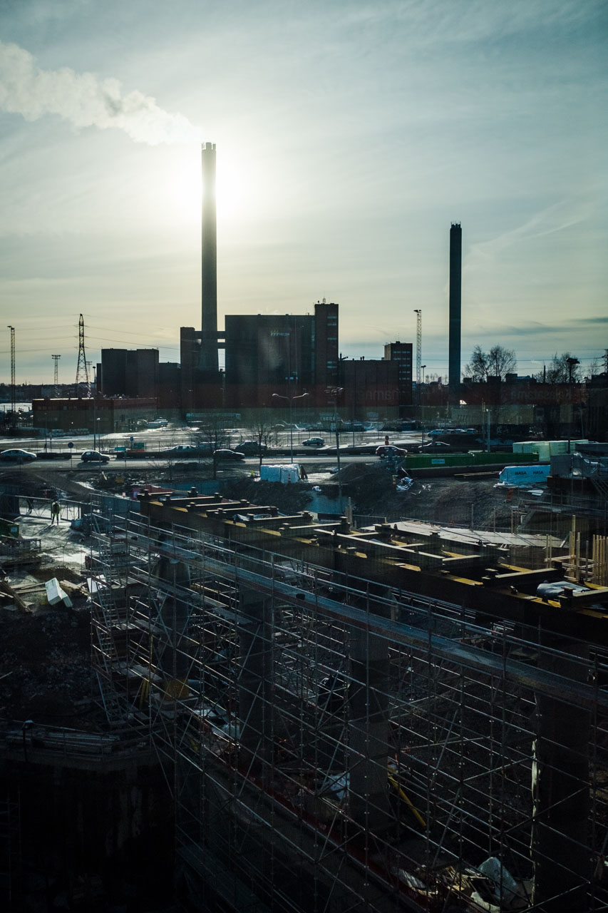 Hanasaaren voimalaitos REDI työmaa itäväylä Kalasatama