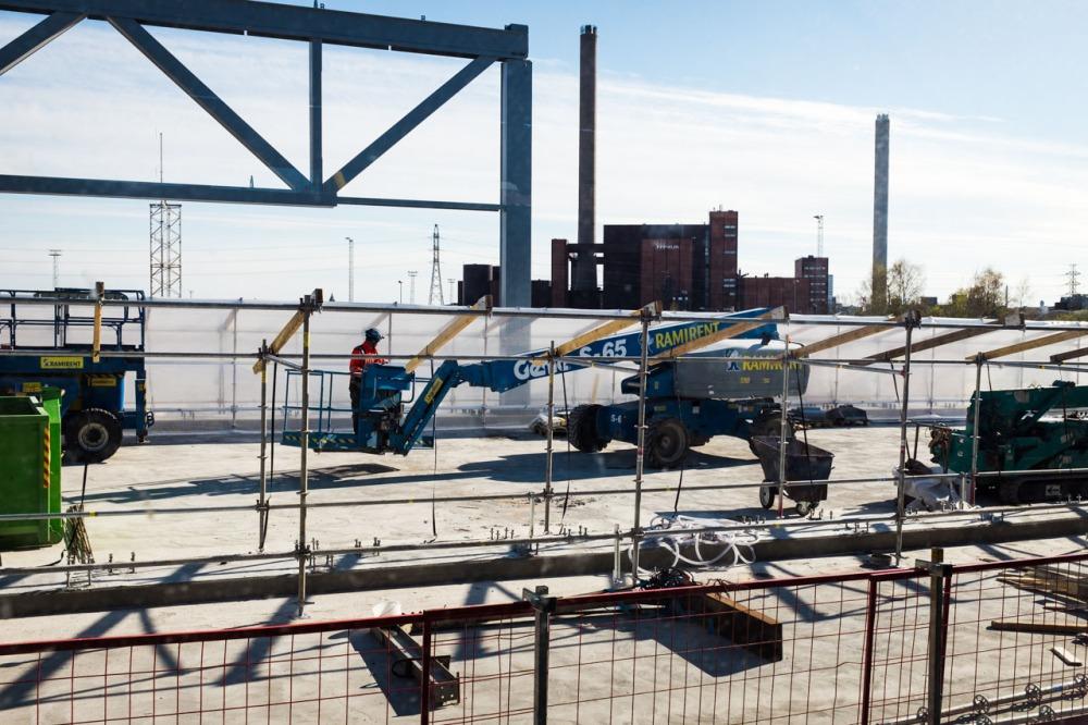 REDIn läpi menevän itäväylän rakentamista Kalasatamassa 15.5.2017