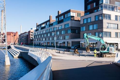 Parrulaiturin itäinen pää Isoisänsillalta kuvattuna 28.6.2017