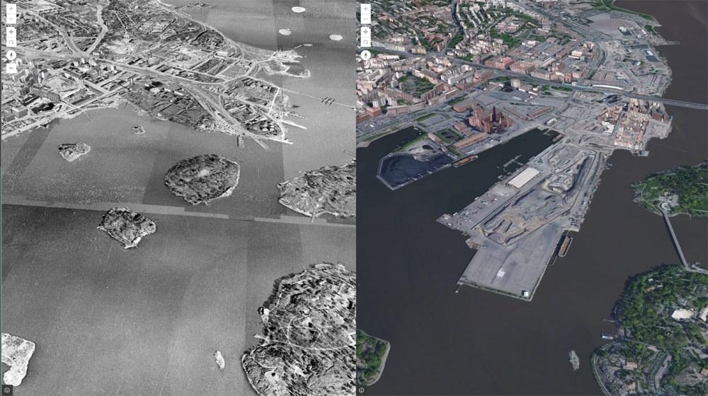 Vertailussa vuoden 1943 ja nykypäivän ilmakuvat Kalasatamasta