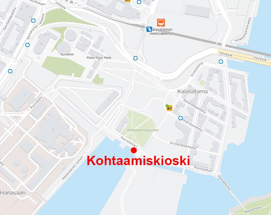 Kartta Kalasataman Kohtaamiskioskin sijainnista